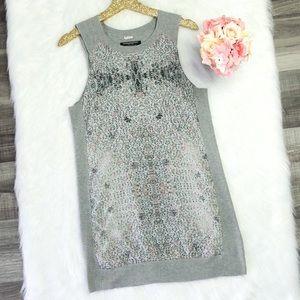 AllSaints Ditsy Tank Dress In Gray Marl